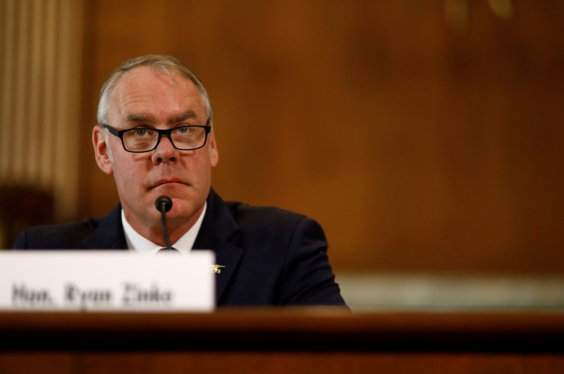 © Reuters. U.S. Secretary of the Interior Ryan Zinke testifies in front of the Senate Committee on Energy and Natural Resources on Capitol Hill in Washington