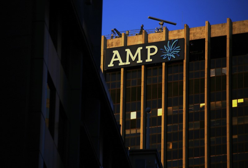 © Reuters. The logo of AMP Ltd, Australia's biggest retail wealth manager, adorns their head office located in central Sydney, Australia