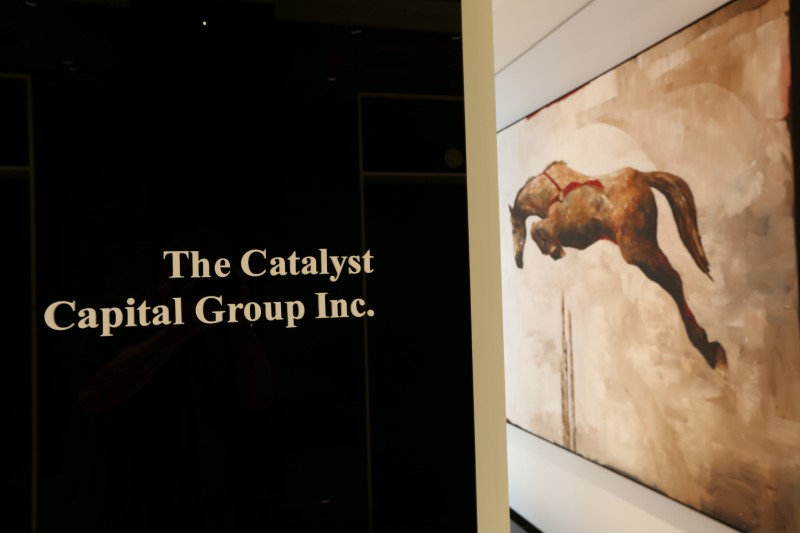 © Reuters. FILE PHOTO: Sign shows the entrance to the offices of the Catalyst Capital Group Inc. in Toronto