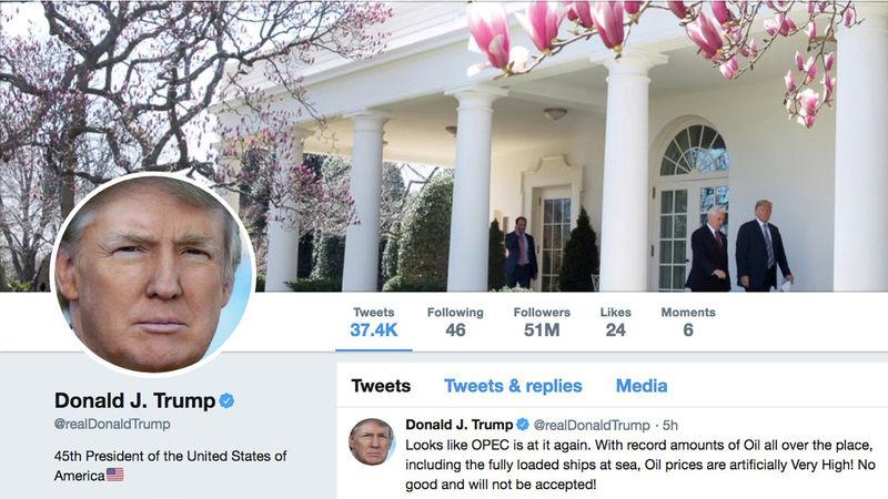 © Reuters. The masthead of U.S. President Donald Trump's @realDonaldTrump Twitter account