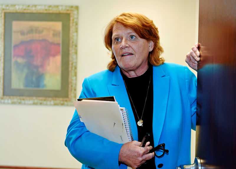 © Reuters. FILE PHOTO: Sen. Heidi Heitkamp discusses farm policy at Jamestown College, Jamestown, North Dakota