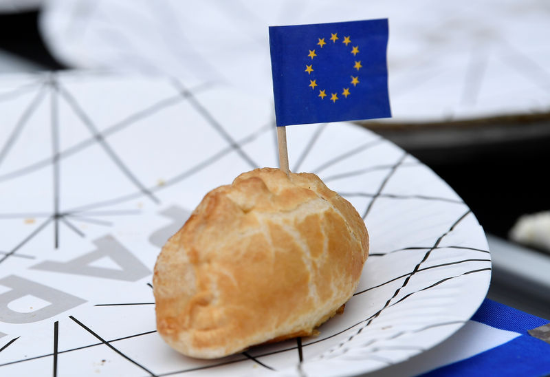© Reuters. A pie is decorated with EU flags during an anti-Brexit protest opposite the Houses of Parliament in London