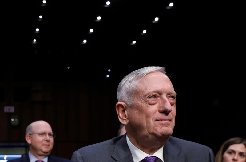 © Reuters. U.S. Defense Secretary Mattis testifies before a Senate Armed Services Committee hearing on Capitol Hill in Washington