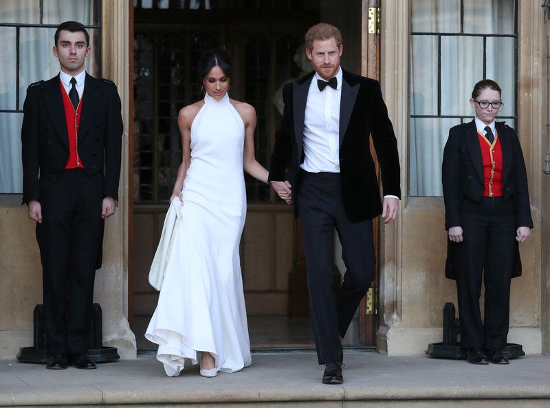 © Reuters. Meghan Markle na recepção noturna após casamento com príncipe Harry