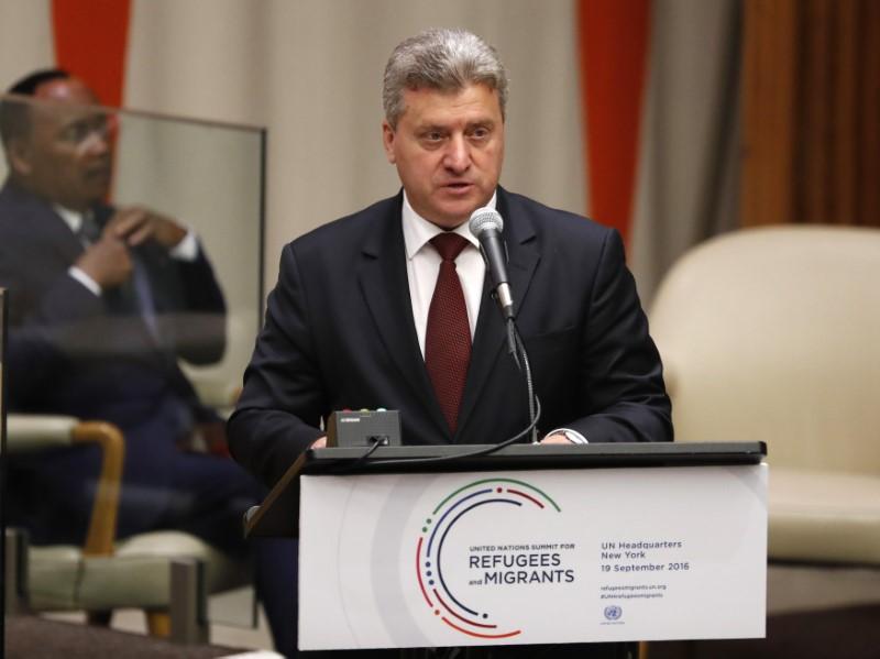 © Reuters. Presidente Gjorge Ivanov durante discurso em Nova York