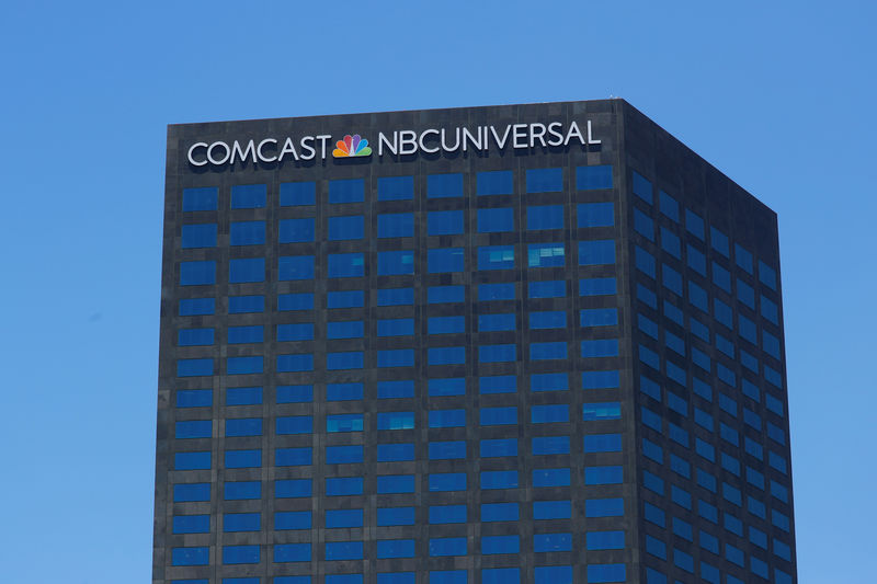 © Reuters. The Comcast NBC Universal logo is shown on a building in Los Angeles, California