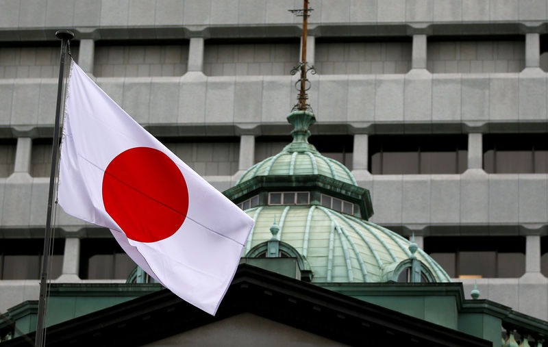 © Reuters. FILE PHOTO: A Japanese flag flutters atop the Bank of Japan building in Tokyo