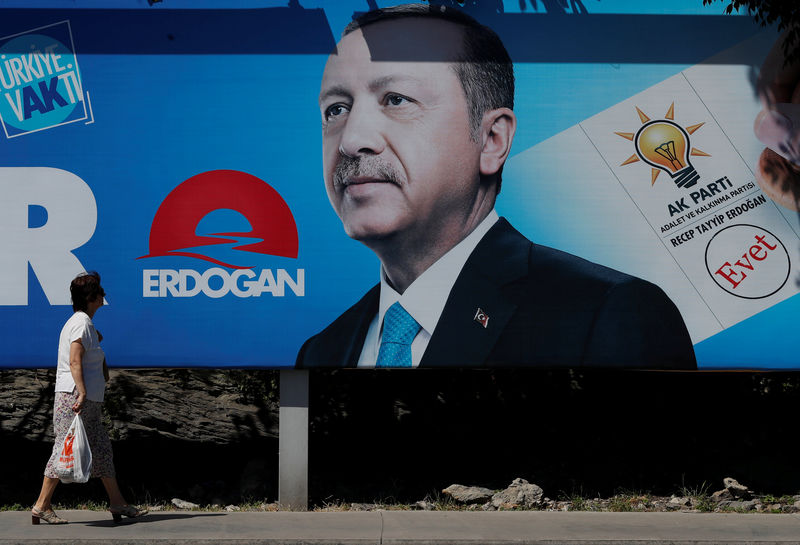 © Reuters. A woman walks past an election poster for Turkey's President Tayyip Erdogan in Istanbul