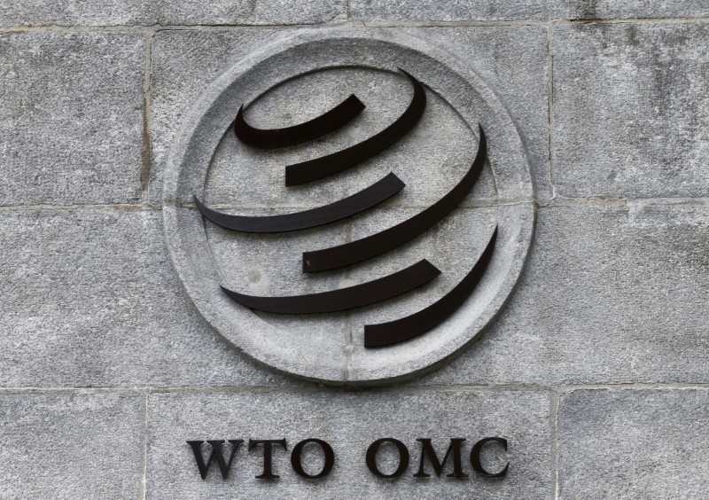 © Reuters. A WTO logo is pictured on their headquarters in Geneva