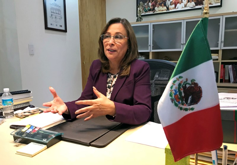 © Reuters. Mexican Congresswoman Rocio Nahle, top energy advisor to presidential frontrunner Andres Manuel Lopez Obrador, talks to Reuters in Mexico City
