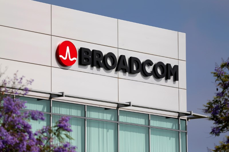 © Reuters. FILE PHOTO: Broadcom Limited company logo is pictured on an office building in Rancho Bernardo, California