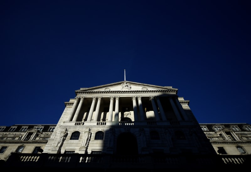 © Reuters. An adjacent building throws a shadow accross the Bank of England in the City of London