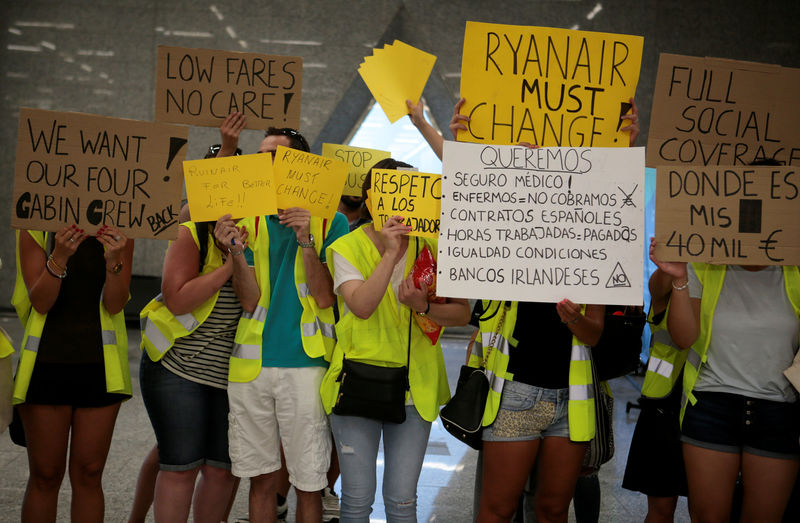 Reuters. Ryanair Employees Hold Up Signs In English And Spanish On The  First Day