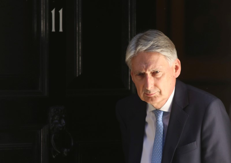 © Reuters. FILE PHOTO: Britain's Chancellor of the Exchequer Philip Hammond leaves 11 Downing Street in London