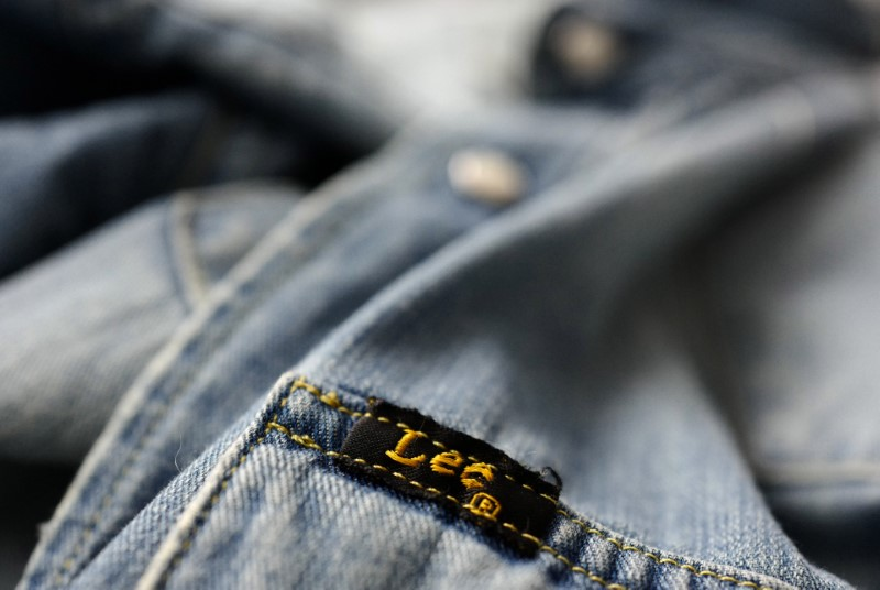 © Reuters. The label of a denim shirt of U.S. company Lee is photographed at a denim store in Frankfurt