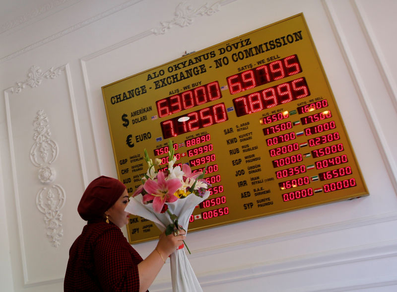 © Reuters. A woman walks past by a board showing the currency exchange rates as she leaves from a currency exchange office in Istanbul