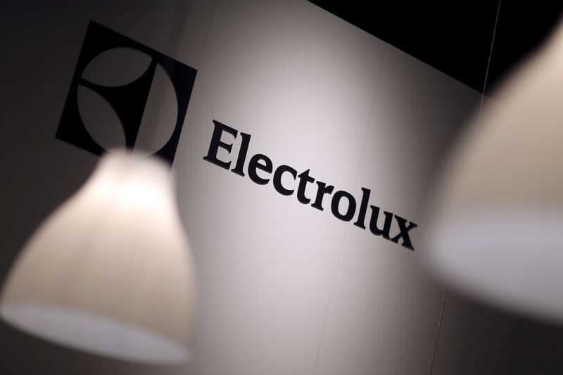 © Reuters. FILE PHOTO -  The Electrolux logo is seen during the IFA Electronics show in Berlin