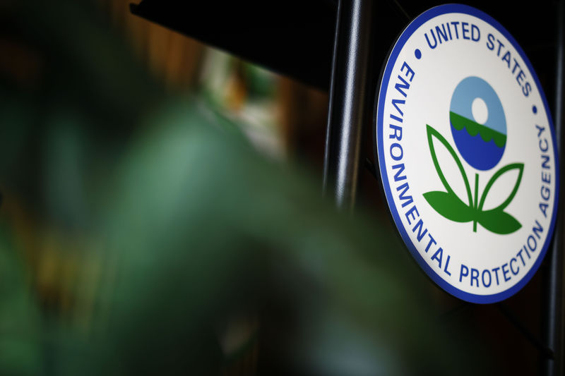 © Reuters. The U.S. Environmental Protection Agency (EPA) sign is seen on the podium at EPA headquarters in Washington