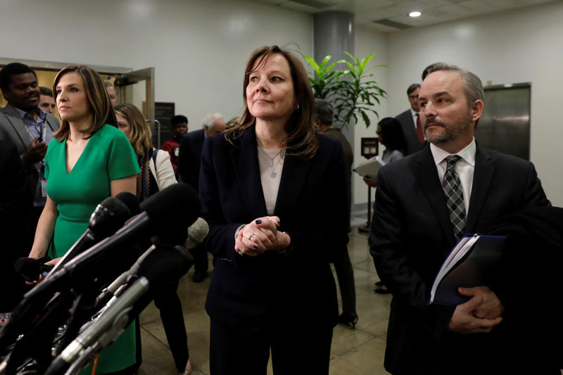 © Reuters. GM CEO Barra speaks to media after meeting with Michigan Congressional delegation in Washington