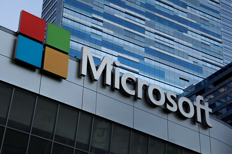 © Reuters. FILE PHOTO: The Microsoft sign is shown on top of the Microsoft Theatre in Los Angeles, California