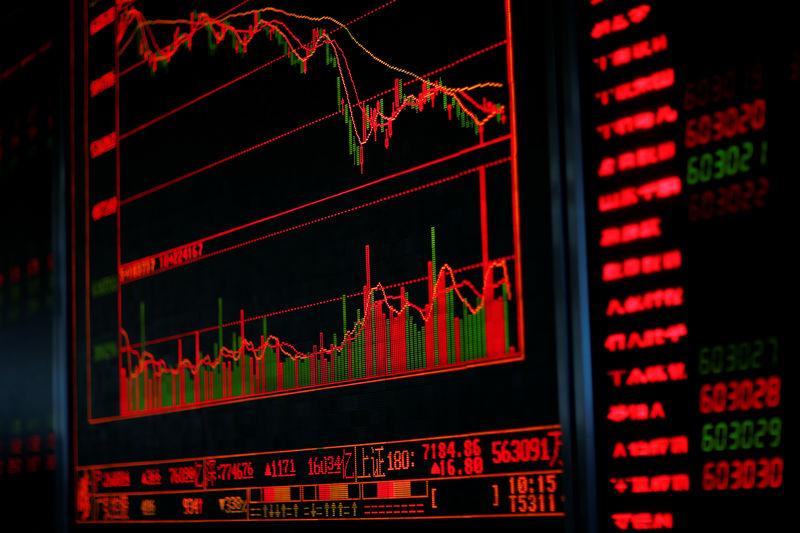 © Reuters. A digital board displays stock information at a brokerage office in Beijing