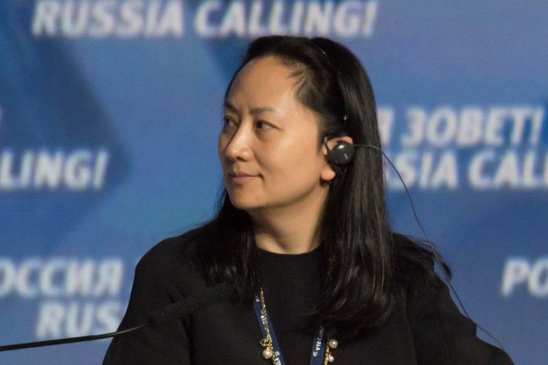 © Reuters. La directora financiera de Huawei, Meng Wanzhou, en un foro empresarial en Moscú