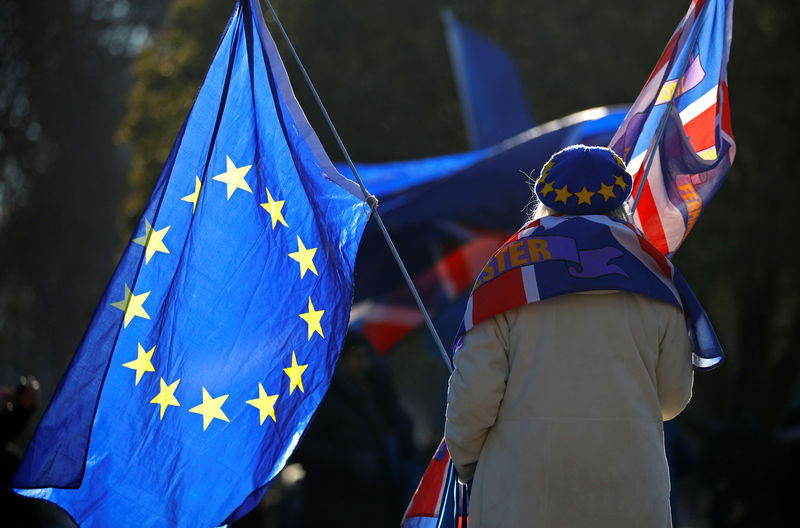 © Reuters. A pro-EU supporter holds flags outside the Houses of Parliament in Westminster London