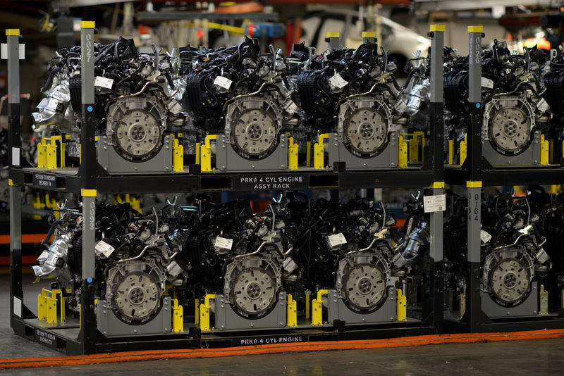 © Reuters. FILE PHOTO: Pre assembled engines are stacked and ready for installation at Nissan Motor Co's automobile manufacturing plant in Smyrna Tennessee