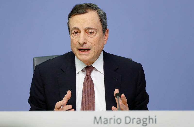 © Reuters. FILE PHOTO: FILE PHOTO: Mario Draghi, President of the European central Bank (ECB) attends a news conference on the outcome of the Governing Council meeting at the ECB headquarters in Frankfurt