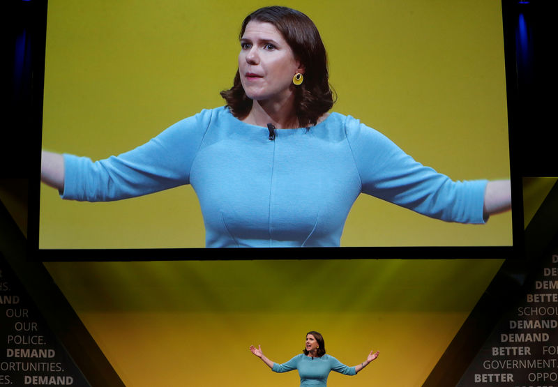 © Reuters. Leader of Britain's Liberal Democrats Jo Swinson delivers her speech at the yearly party conference in Bournemouth