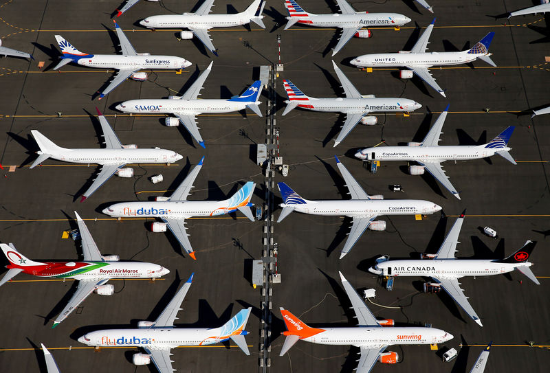 © Reuters. FILE PHOTO: Grounded Boeing 737 MAX aircraft are parked at Boeing Field in Seattle