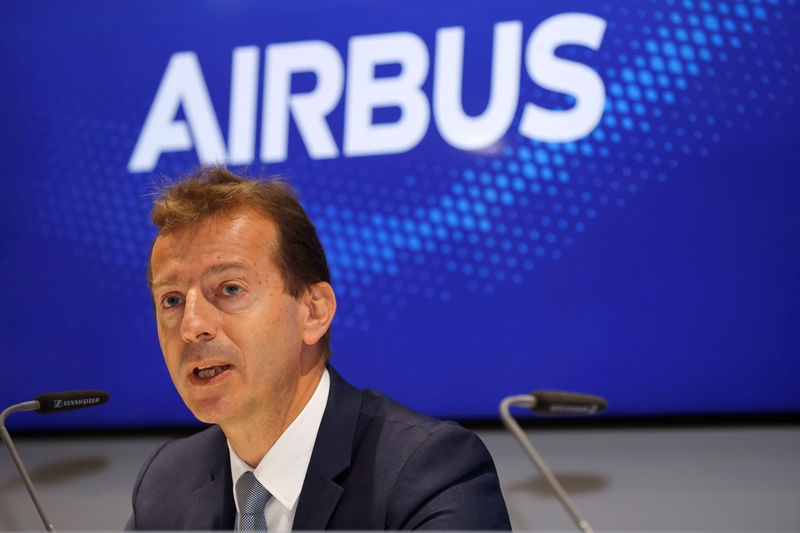 © Reuters. FILE PHOTO: Airbus CEO Guillaume Faury attends a news conference at the 53rd International Paris Air Show at Le Bourget Airport near Paris