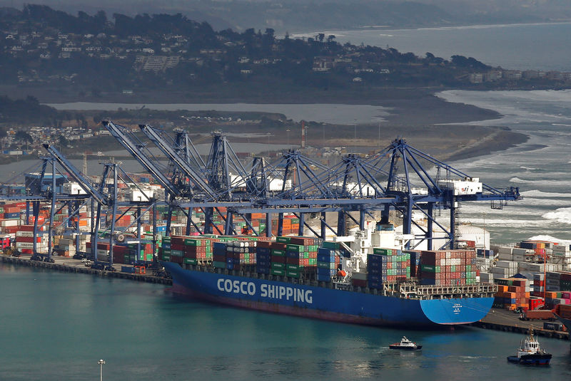 © Reuters. FILE PHOTO: A China Ocean Shipping Company (COSCO) container ship is seen at San Antonio port in Chile