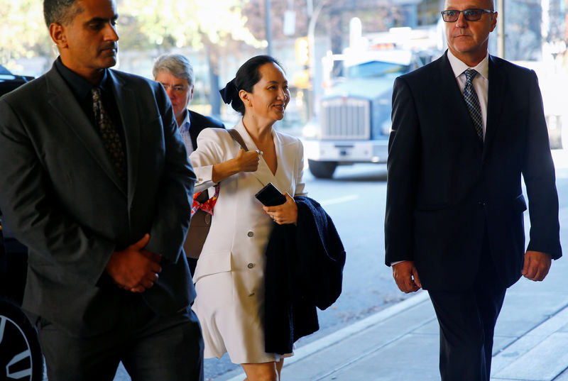 © Reuters. Huawei Technologies Chief Financial Officer Meng returns to British Columbia supreme court after a lunch break during a hearing in Vancouver