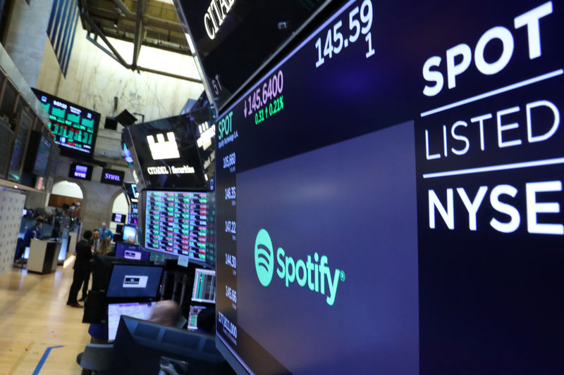 © Reuters. A screen displays the company logo and trading info for Spotify on the floor at the NYSE in New York