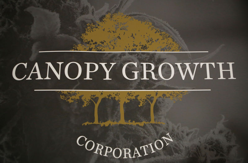 © Reuters. A sign featuring Canopy Growth Corporation's logo is pictured at their facility in Smiths Falls