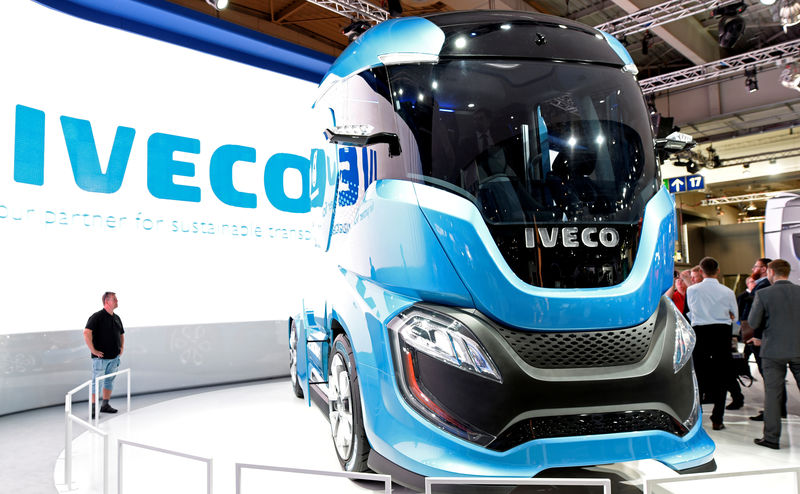 © Reuters. An Iveco truck is seen at the IAA Commercial Vehicles trade show in Hanover