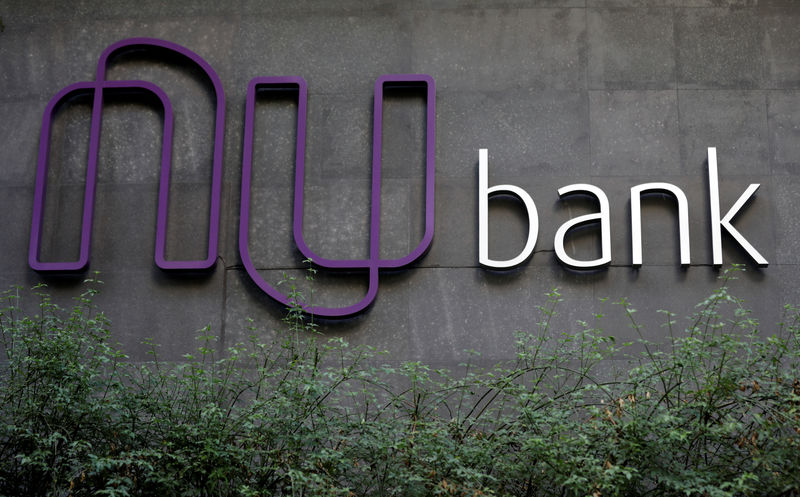 © Reuters. The logo of Nubank, a Brazilian FinTech startup, is pictured at the bank's headquarters in Sao Paulo