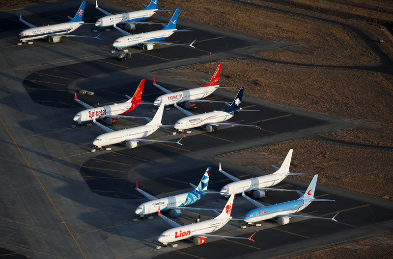 © Reuters. FILE PHOTO: An aerial photo shows Boeing 737 MAX aircraft at Boeing facilities at the Grant County International Airport in Moses Lake