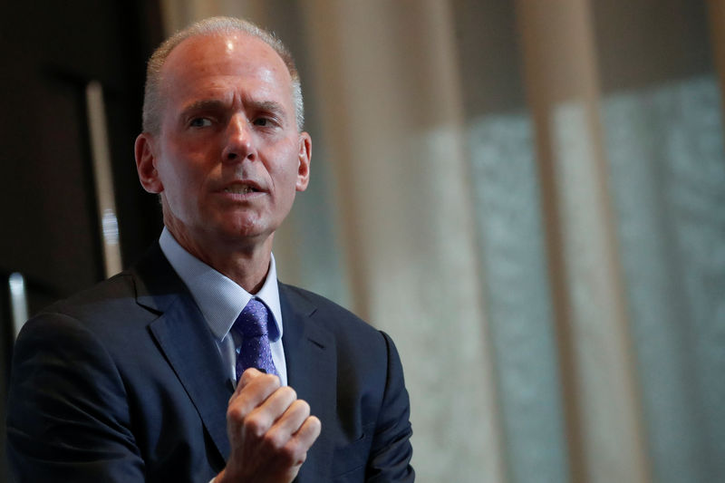 © Reuters. Boeing Chairman, President and CEO Dennis Muilenburg  speaks at the New York Economic club luncheon in New York City
