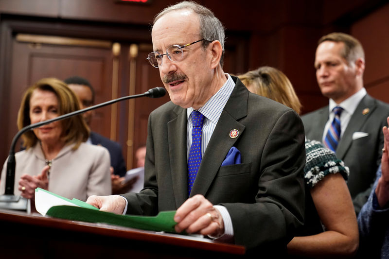 © Reuters. U.S. Rep. Engel speaks during introduction of Climate Action Now Act on Capitol Hill in Washington