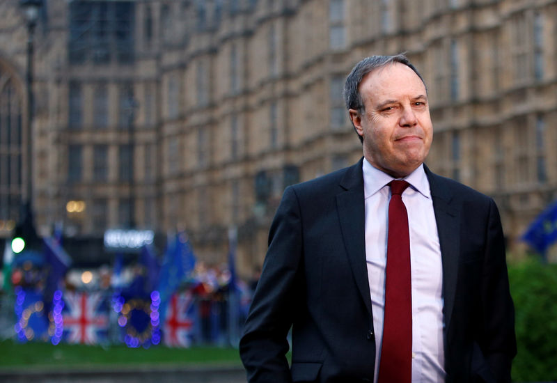 © Reuters. Deputy leader of the Democratic Unionist Party Nigel Dodds is seen outside the Houses of Parliament in London