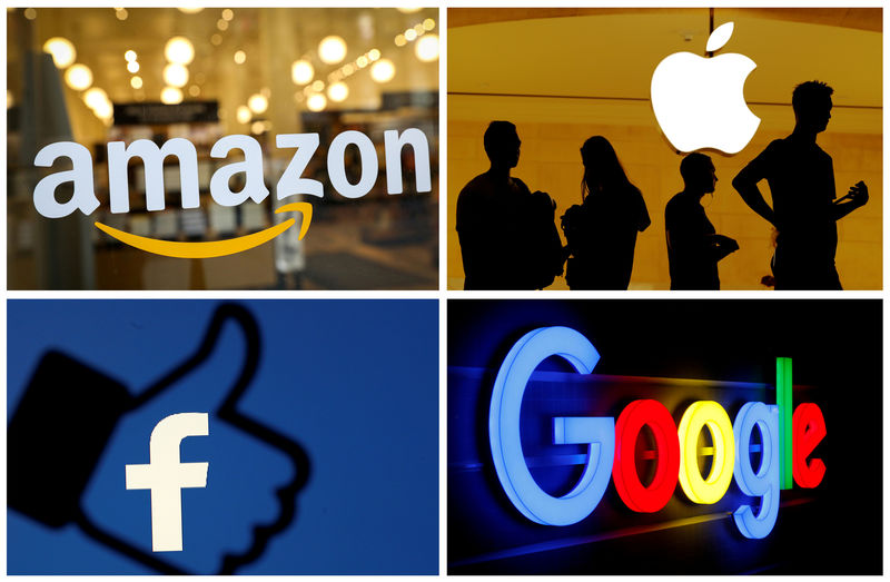 © Reuters. FILE PHOTO: The logos of Amazon Apple Facebook and Google