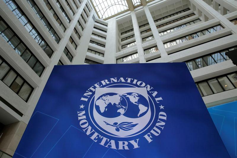 © Reuters. International Monetary Fund logo is seen