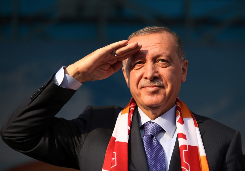 © Reuters. Turkish President Erdogan salutes during a gathering in Kayseri