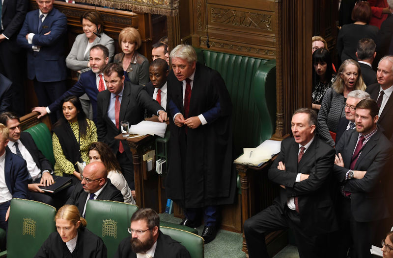 © Reuters. FILE PHOTO: Britain's House Speaker Bercow stands ahead of
