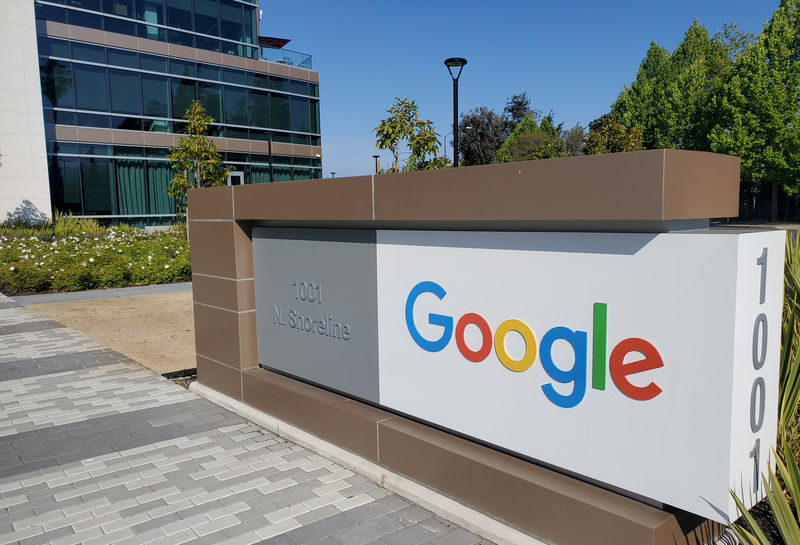© Reuters. FILE PHOTO: FILE PHOTO: A sign is pictured outs a Google offcie near the company's headquarters in Mountain View, California