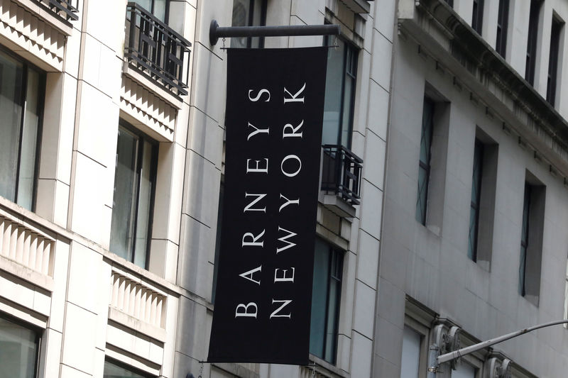 © Reuters. FILE PHOTO: The Barneys New York sign is seen outside the luxury department store in New York