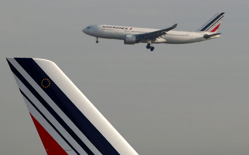 © Reuters. FILE PHOTO: An Air France Airbus A330 airplane lands at the Charles-de-Gaulle airport in Roissy