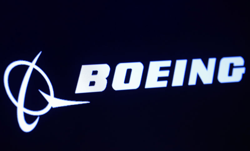 © Reuters. The company logo for Boeing is displayed on a screen on the floor of the NYSE in New York